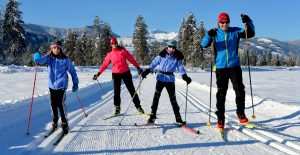 cross-country skiers on Methow Valley trails